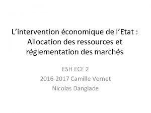 Lintervention conomique de lEtat Allocation des ressources et