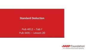 Standard Deduction Pub 4012 Tab F Pub 4491