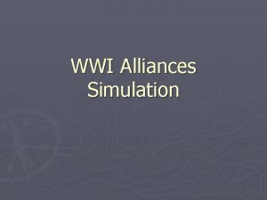 WWI Alliances Simulation WWI Alliances Simulation Your six