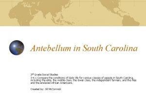 Antebellum in South Carolina 3 rd Grade Social