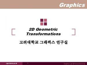 Graphics 2 D Geometric Transformations cgvr korea ac