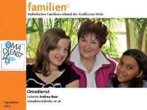 Katholischer Familienverband der Erzdizese Wien Omadienst September 2015