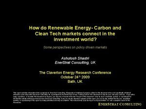 How do Renewable Energy Carbon and Clean Tech