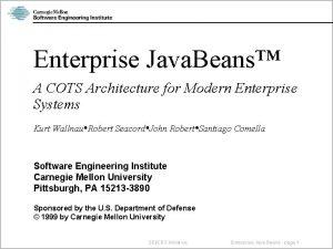 Enterprise Java Beans A COTS Architecture for Modern