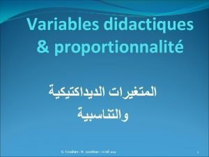 Variables didactiques proportionnalit G Combier B Anselmo Avril