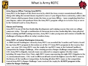 What is Army ROTC Army Reserve Officer Training
