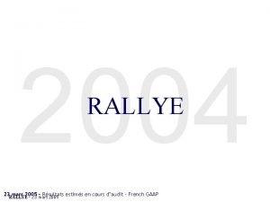 2004 RALLYE 23 mars 2005 Rsultats estims en