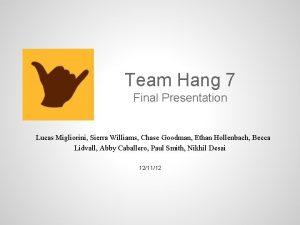 Team Hang 7 Final Presentation Lucas Migliorini Sierra