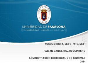 Matrices DOFA MEFE MPC MEFI FABIAN DANIEL ROJAS