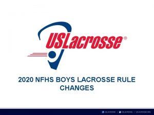 2020 NFHS BOYS LACROSSE RULE CHANGES RULE 1