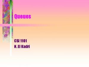 Queues CSI 1101 N El Kadri Definitions A