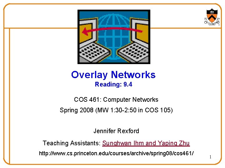 Overlay Networks Reading 9 4 COS 461 Computer