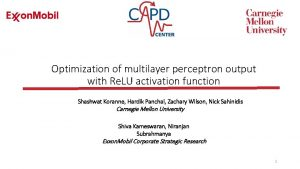 Optimization of multilayer perceptron output with Re LU