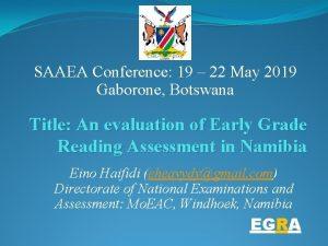 SAAEA Conference 19 22 May 2019 Gaborone Botswana