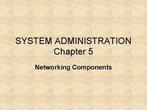 SYSTEM ADMINISTRATION Chapter 5 Networking Components Hubs Hubs