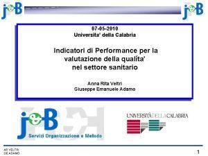 07 05 2010 Universita della Calabria Indicatori di