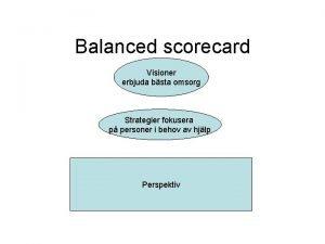 Balanced scorecard Visioner erbjuda bsta omsorg Strategier fokusera