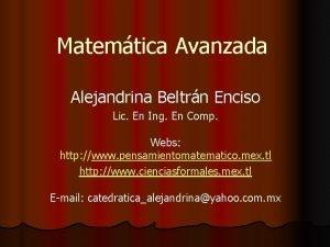 Matemtica Avanzada Alejandrina Beltrn Enciso Lic En Ing