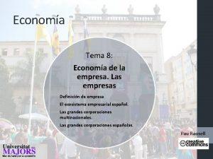 Economa Tema 8 Economa de la empresa Las
