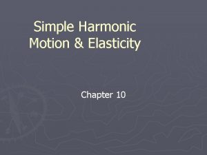Simple Harmonic Motion Elasticity Chapter 10 Elastic Potential