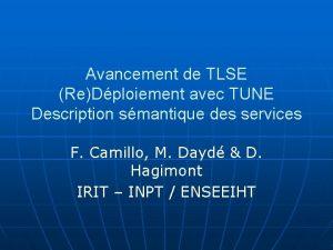 Avancement de TLSE ReDploiement avec TUNE Description smantique