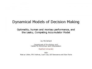 Dynamical Models of Decision Making Optimality human and