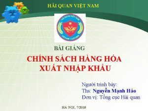 HI QUAN VIT NAM BI GING CHNH SCH