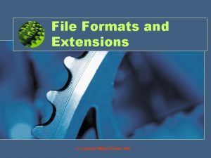 File Formats and Extensions Copyright William Rowan 2007