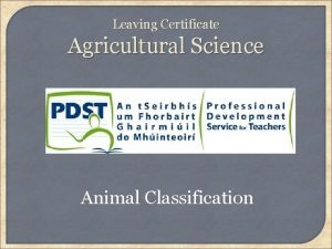 Leaving Certificate Agricultural Science Animal Classification Learning Outcomes