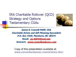 IRA Charitable Rollover QCD Strategy and Options Testamentary