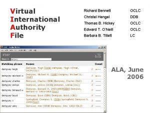 Virtual International Authority File Richard Bennett OCLC Christel