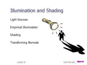 Illumination and Shading Light Sources Empirical Illumination Shading