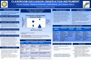 CLASSROOM DISCUSSION OBSERVATION INSTRUMENT Rachel Restani Rebecca Ambrose