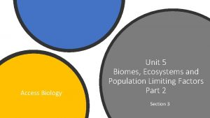 Access Biology Unit 5 Biomes Ecosystems and Population