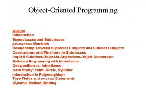 ObjectOriented Programming Outline Introduction Superclasses and Subclasses protected