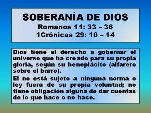 SOBERANA DE DIOS Romanos 11 33 36 1