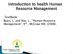 Introduction to health Human Resource Management Text Book
