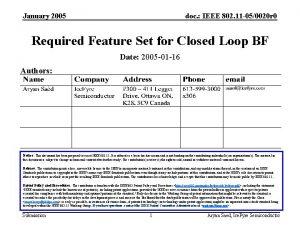 January 2005 doc IEEE 802 11 050020 r