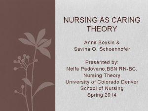 NURSING AS CARING THEORY Anne Boykin Savina O