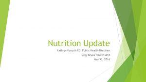 Nutrition Update Kathryn Forsyth RD Public Health Dietitian
