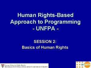 Human RightsBased Approach to Programming UNFPA SESSION 2