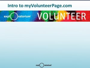 Intro to my Volunteer Page com Intro to