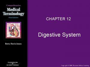 CHAPTER 12 Digestive System Digestive System Overview Digestive