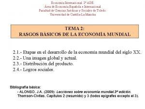Economa Internacional 2 ADE rea de Economa Espaola