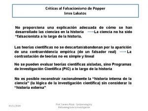 Crticas al Falsacionismo de Popper Imre Lakatos No
