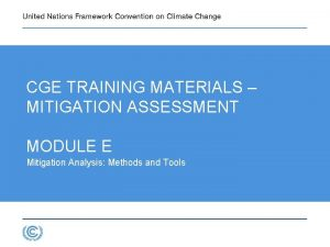 CGE TRAINING MATERIALS MITIGATION ASSESSMENT MODULE E Mitigation