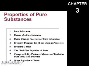CHAPTER Properties of Pure Substances 1 Pure Substance