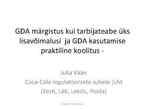GDA mrgistus kui tarbijateabe ks lisavimalusi ja GDA