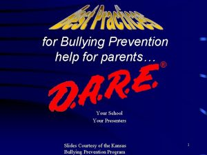 for Bullying Prevention help for parents Your School