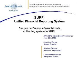 Secrtariat gnral de la Commission bancaire Direction de